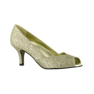 Easy Street Women's Ravish Peep Toe Evening Shoe (Gold Glitter)