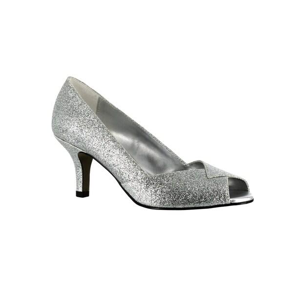 Shop Easy Street Women's Ravish Peep Toe - Evening Shoe (Silver Glitter) - Toe - 16994377 9f3d4f
