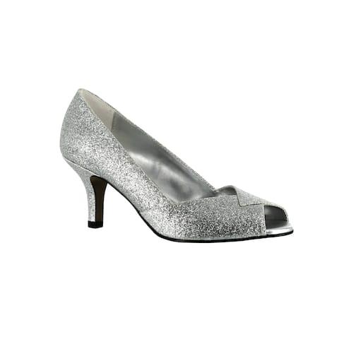 Easy Street Women's Ravish Peep Toe Evening Shoe (Silver Glitter)
