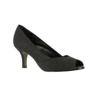 Easy Street Women's Ravish Peep Toe Evening Shoe (Black Glitter)