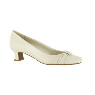 Easy Street Women's Waive Pump With Pleated Overlay (Bone) (More options available)