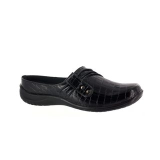 Easy Street Women's Holly Comfort Clog (Black Patent Crocco)