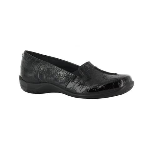 Easy Street Womens Purpose Comfort Slip On (Black Patent Crocco)