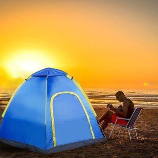 Hexagonal Waterproof Outdoor Camping Pop up Tent - Blue