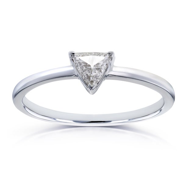 Annello by Kobelli 14k White Gold 1/6 Carat Triangular Diamond Petite Ring (H-I, I1-I2)