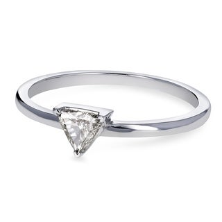 Annello by Kobelli 14k White Gold 1/6 Carat Triangular Diamond Petite Ring (H-I, SI)