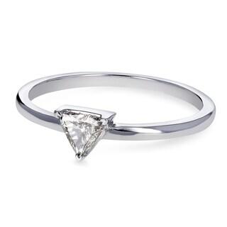 Annello by Kobelli 14k White Gold 1/6 Carat Triangular Diamond Petite Ring (H-I, SI)