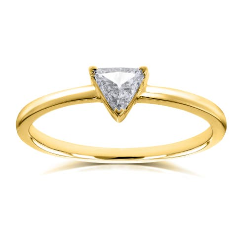 Annello by Kobelli 14k Yellow Gold 1/6 Carat Triangular Diamond Petite Ring (H-I, SI)