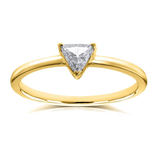 Annello by Kobelli 14k Yellow Gold 1/6 Carat Triangular Diamond Petite Ring (H-I, SI). Opens flyout.