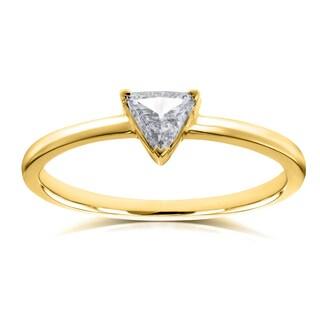 Annello by Kobelli 14k Yellow Gold 1/6 Carat Triangular Diamond Petite Ring (H-I, SI)