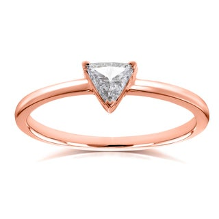 Annello by Kobelli 14k Rose Gold 1/6 Carat Triangular Diamond Petite Ring (H-I, I1-I2)