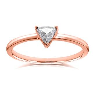 Annello by Kobelli 14k Rose Gold 1/6 Carat Triangular Diamond Petite Ring (H-I, I1-I2)