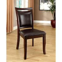 "Furniture of America Clemmine Contemporary Leatherette Espresso Dining Chair (Set of 2) - 18 3/4""W X 24 1/4""D X 38 1/4""H"
