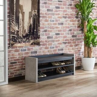 Furniture Of America Keler Industrial Cement Like 2 Shelf Shoe Cabinet