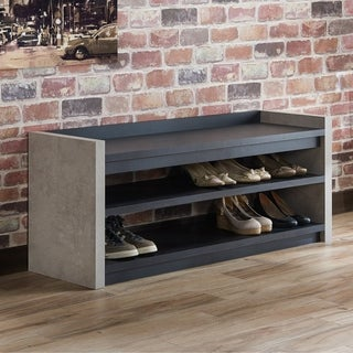 Furniture of America Keler Industrial Cement-like 2-shelf Shoe Cabinet (2 options available)
