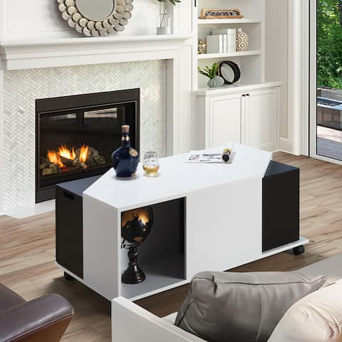 Furniture of America Teas Modern White Multi-storage Coffee Table