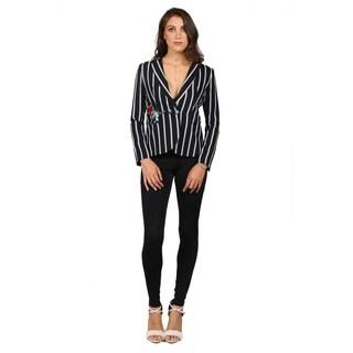 Xehar Womens Striped Two Button Blazer
