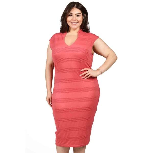 Xehar Womens Plus Size Striped Cap Sleeve Bodycon Dress