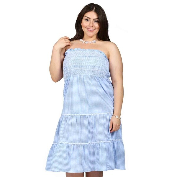 Shop Xehar Womens Plus Size Gingham Smocked Strapless Dress - Free ...