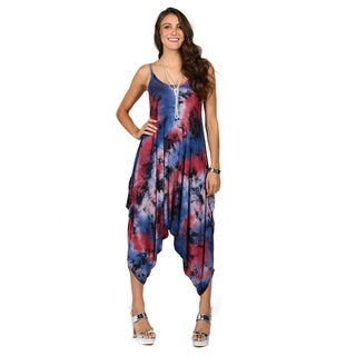 Xehar Womens Drop Crotch Tie Dye Jumpsuit