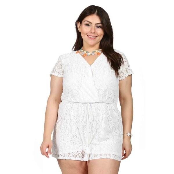 2fc85afd0d0 Shop Xehar Womens Plus Size Floral Lace V-Neck Blouson Romper - Free ...