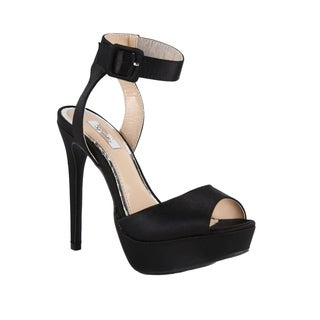 Xehar Womens Ankle Strap Open Toe Satin Heel