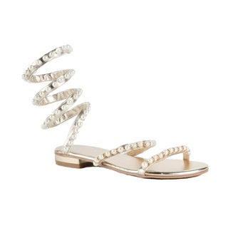 Xehar Womens Strappy Pearl Studded Metallic Gladiator Sandal