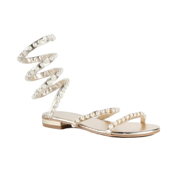 Shop Xehar Womens Strappy Pearl Studded Metallic Gladiator Sandal ... 290e2b1643e2