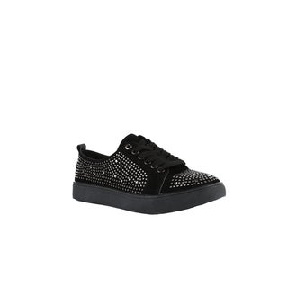 Xehar Womens Black Silver Rhinestone Studded Sneaker