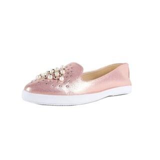 Xehar Womens Pearl Studded Slip On Loafer Sneaker