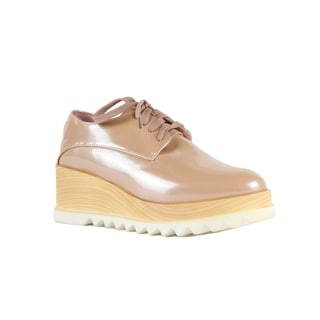 Xehar Womens Sleek Faux Wood Platform Oxford Sneaker