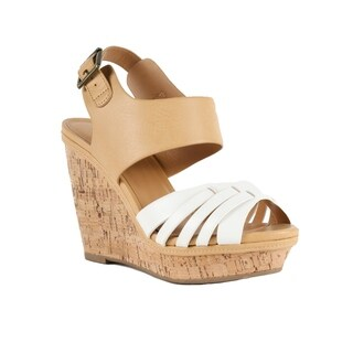 Xehar Womens Faux Leather Crisscross Cork Wedge