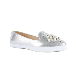 Xehar Womens Textured Pearl Studded Slip On Sneakers
