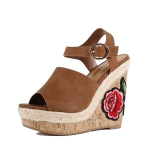 Xehar Womens Floral Applique Faux Leather Wedge