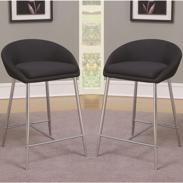 Beautiful Modern Design Black Woven Fabric Counter Height Stools With Sleek Chrome  Base (Set Of 2 Photo