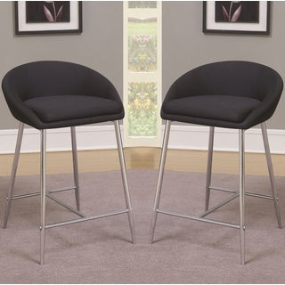 Modern Design Black Woven Fabric Counter Height Stools with Sleek Chrome Base (Set of 2)
