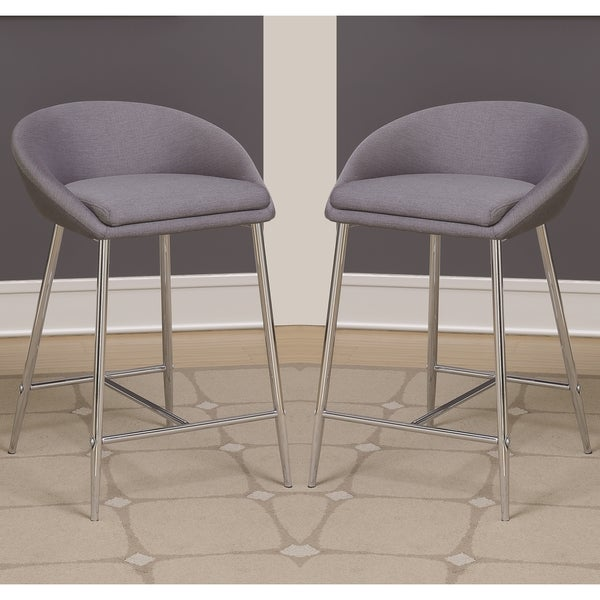 Elegant Modern Design Grey Woven Fabric Counter Height Stools With Sleek Chrome Base  (Set Of 2 Amazing Ideas