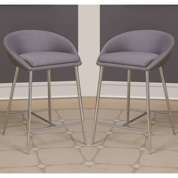 Shop Modern Design Grey Woven Fabric Counter Height Stools