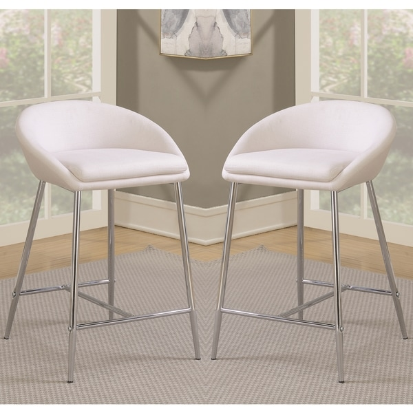 Modern Design Cream White Woven Fabric Counter Height Stools With Sleek  Chrome Base (Set Of Pictures