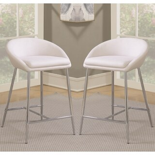 Modern Design Cream White Woven Fabric Counter Height Stools with Sleek Chrome Base (Set of 2)