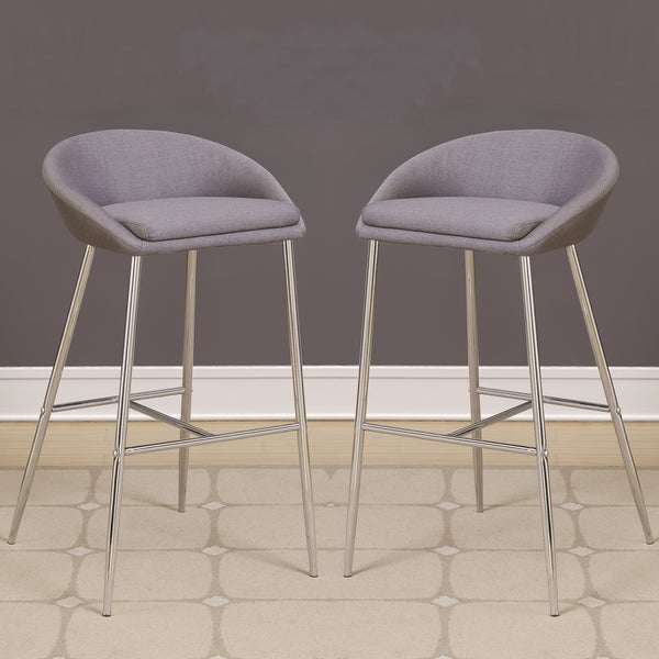 Exceptional Modern Design Grey Woven Fabric Bar Stools With Sleek Chrome Base (Set Of 2) Great Pictures