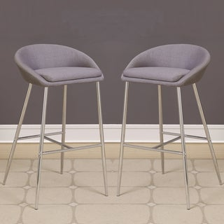 Modern Design Grey Woven Fabric Bar Stools with Sleek Chrome Base (Set of 2)