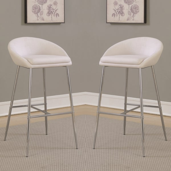 Modern Design Cream White Woven Fabric Bar Stools With Sleek Chrome Base  (Set Of 2 Good Looking