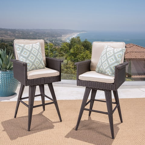 Marbella Outdoor Wicker Barstool with Sunbrella Cushion (Set of 2) by Christopher Knight Home