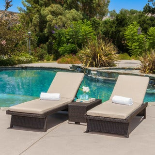 Marbella Outdoor 3-piece Wicker Chaise Lounge Set with Sunbrella Cushions by Christopher Knight Home