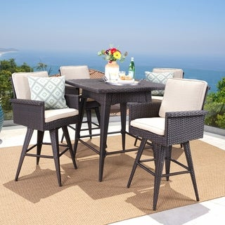 Marbella Outdoor 5 Piece Square Wicker Dining Set With Sunbrella Cushion By  Christopher Knight Home