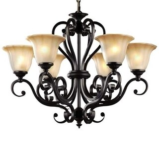 LNC 6-Light Traditional Chandeliers Antique Black Pendant Lighting