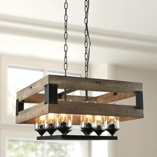 LNC Wood Chandelier Lighting 8-Light Kitchen Island Lighting