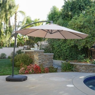 Siesta Outdoor 9.7-foot Canopy Umbrella with Base by Christopher Knight Home|https://ak1.ostkcdn.com/images/products/16995769/P23278295.jpg?impolicy=medium