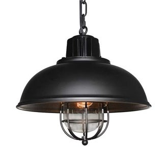 LNC Industrial Pendant Lighting Black 1-light Pendant Lights